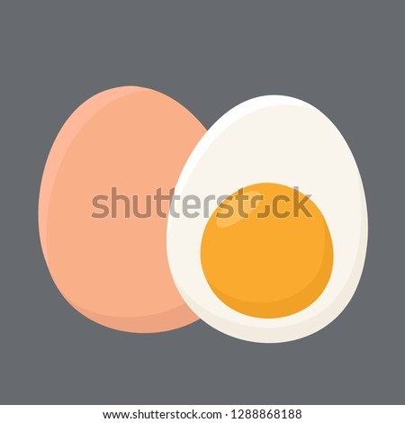 Vector food icon Chicken boiled eggs. An egg in the shell and half an egg with the yolk. Illustration of eggs in flat minimalism style.