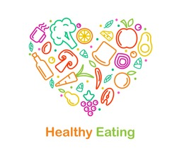 Vector food icon in trendy linear style is arraged in heart for healthy food and organic food