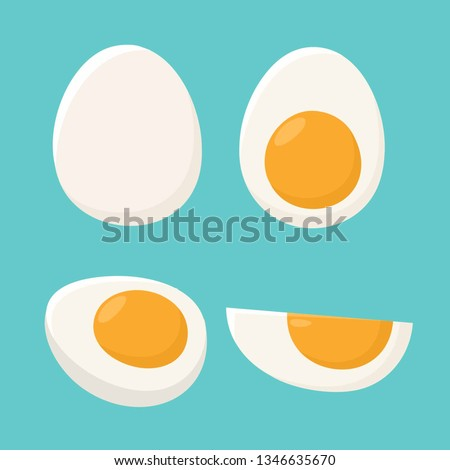 Vector food icon set of boiled eggs. Eggs are whole with yolk and sliced in different shapes. Illustration of boiled eggs in flat minimalism style.