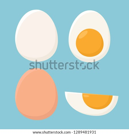 Vector food icon set of chicken egg. White and brown chicken egg in the shell, boiled egg with yolk, half an egg. Illustration of eggs in flat minimalism style.