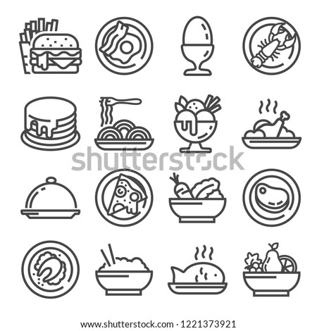 Vector Food icon set, outline style on white background
