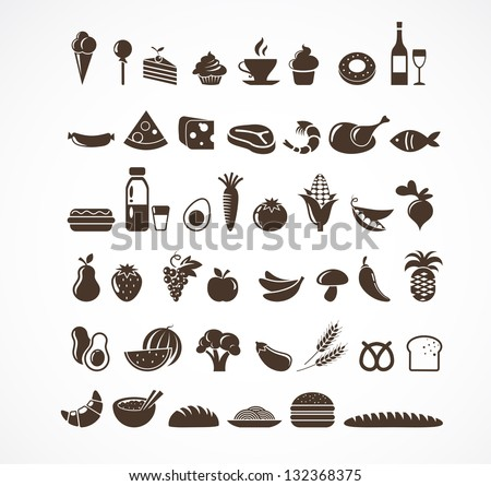 vector food icons and elements