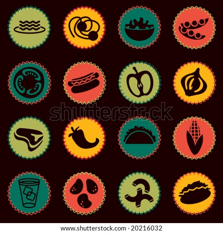 vector food icons set 6