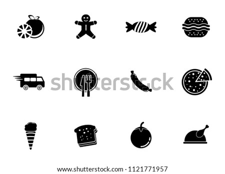 vector food icons set - bakery, fruit, meat, vegetable and chicken illustrations isolated. healthy food