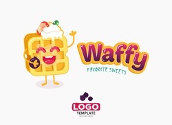 Vector food logo design. Belgium waffles with ice cream and strawberries isolated on white background. Belgian sweet wafer logo template. Bright and positive character.