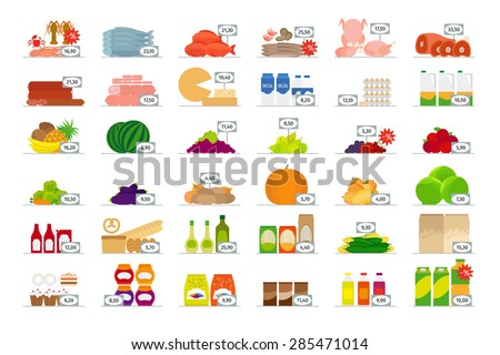 vector food market flat icons