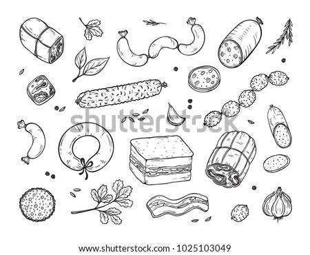 Vector Food. Sausages set. Meat products: Ready sausage, bacon, sliced saveloy, sausage, spicy pepperoni, smoked sausages, salami, baked meatloaf, frankfurters