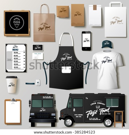 Vector food truck corporate identity template design set. Branding mock up.