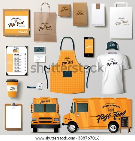 Vector food truck corporate identity template design set. Branding mock up. Foto stock ©
