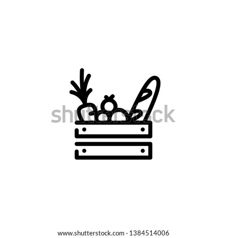 Vector food wooden box icon template. Line grocery logo background with organic fruits and vegetables. Farmers market wood crate illustration. Healthy natural product design concept