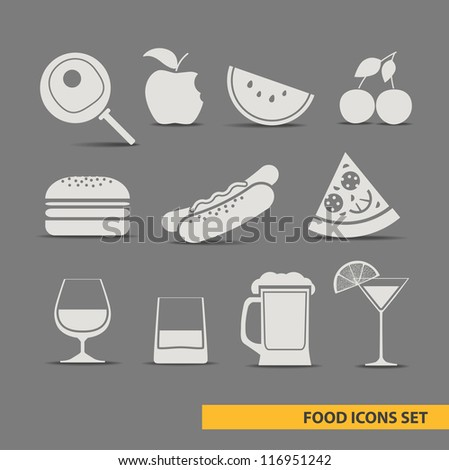 vector foos icons set