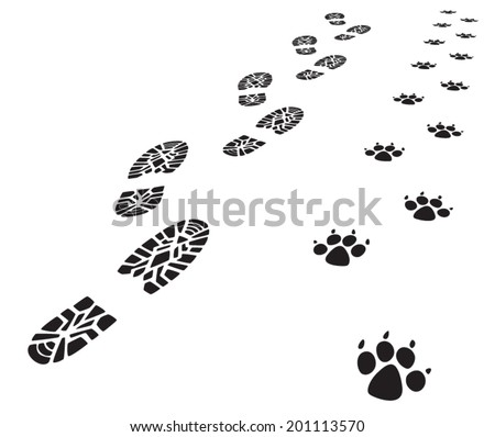 vector foot prints of man and
