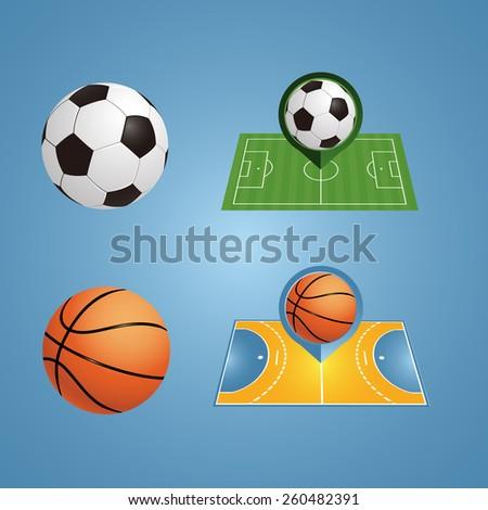 vector football and basketball