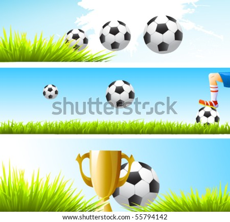 vector football banners - stock vector