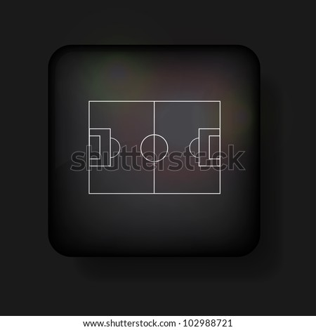 Vector football field icon on black. Eps10