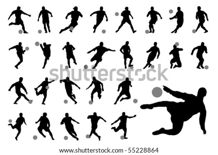 Vector football (soccer) players silhouettes