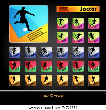 Vector football (soccer) players silhouettes buttons
