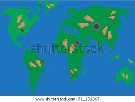 vector   foots  round the world