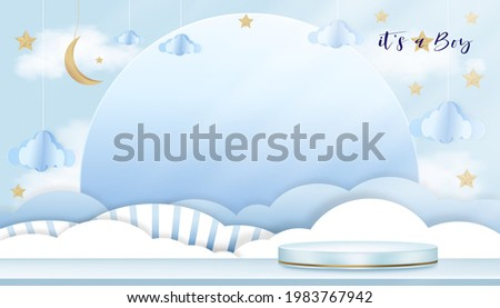 Vector for baby boy shower card on blue background,Cute Paper art abstract origami cloudscape, crescent moon and stars on blue sky and 3D podium,Paper cut with copy space for baby's photos