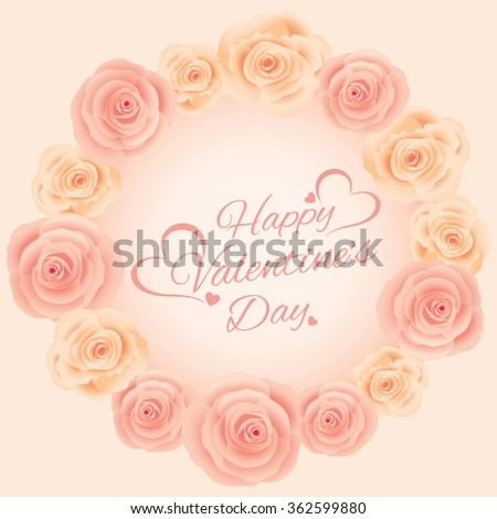 Vector for Lover invitation card.Roses and flowers decoration around the border circle frame.