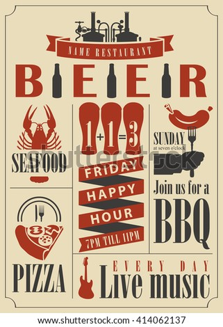vector for pub menu with