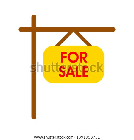 vector for sale sign illustration - real estate icon, house property commercial advertising