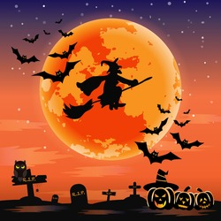 Vector for silhouette Halloween night with a witch riding a broom with a bats flying in the sky and cute cartoon of owl, spider and pumpkin devil beside cemetery and tombstone on full moon background.