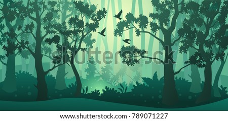 Vector forest background. Trees, bushes and thickets in the form of silhouettes.