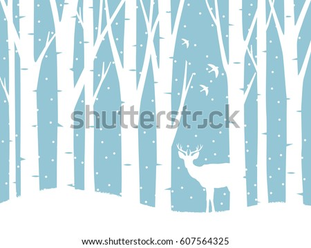 Vector forest in winter and a deer. Isolated background.