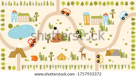 vector forest maze with animals