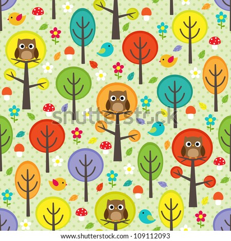 vector forest seamless pattern