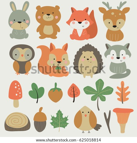 vector forest set with cute
