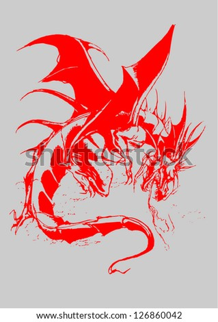 Vector format winged dragon of old. Red dragon isolated on gray background. Vector illustration.eps10