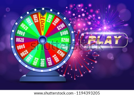 Vector fortune wheel, Online casino design concept. 3d object on abstract defocused circular blue bokeh background. Wheel of luck. Whill of fortune with play button