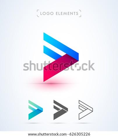 Vector forward arrow logo template. Play button
