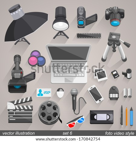 Vector foto video style set 6