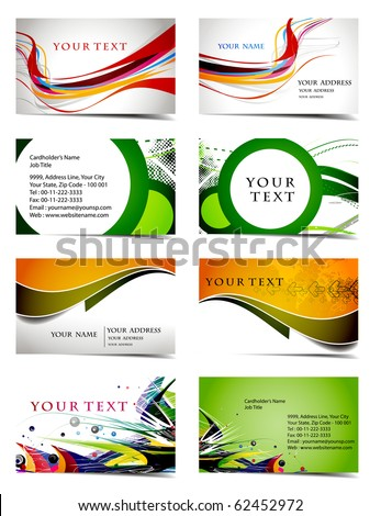 vector four business card set , elements for design.