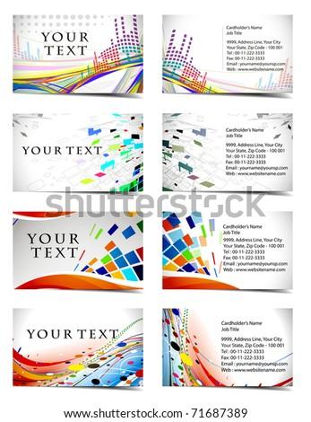vector four business card set , elements for design.
