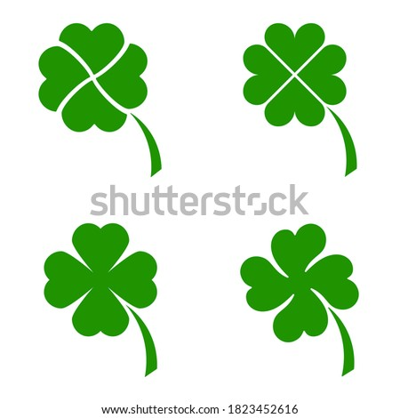 Vector four leaf clover icon in green isolated on white background. Lucky four leaf symbol of the Irish St Patrick's Day Beer Festival. 3d realistic vector green grass clover. Foto stock ©