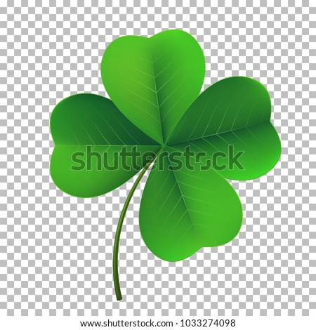 Vector four-leaf shamrock clover icon. Lucky fower-leafed symbol of Irish beer festival St Patrick's day. 3d realistic vector green grass clover isolated on transparent background