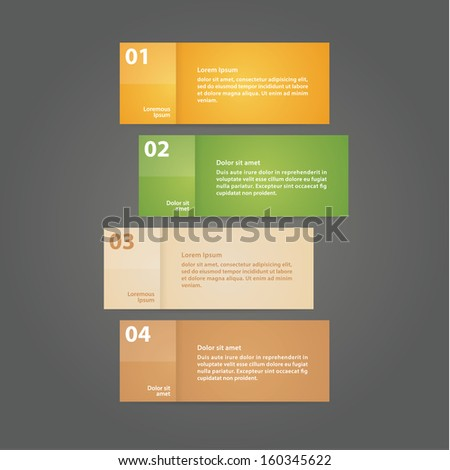 Vector - four solid cards with space for your content. Four steps - choices in different colors. Modern plastic shining design.