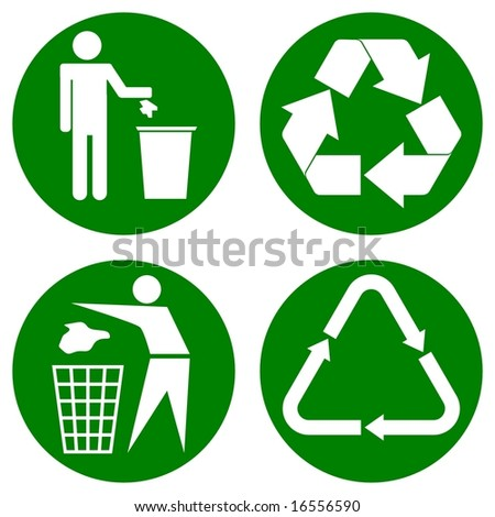 vector. four various recycle icons on a circle