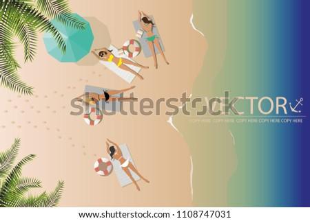 vector four young girls sunbath