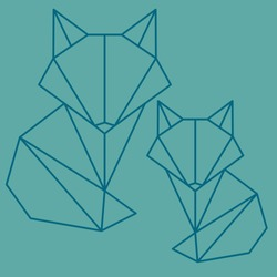Vector Fox logo. Polygon style fox. Line art animal.