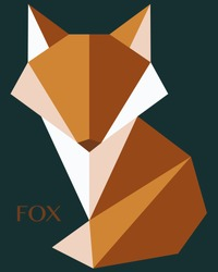 Vector Fox logo. Polygon style fox. Origami Fox, animal. Diamond Fox line art minimalist logo design inspiration