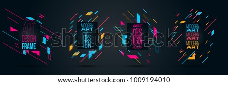 Vector frame Art graphics for hipsters . dynamic frame stylish geometric black background . element for design business cards, invitations, gift cards, flyers brochures. effect glitches and disorder