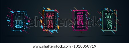 Vector frame Art graphics for hipsters . dynamic frame stylish geometric black background . element for design business cards, invitations, gift cards, flyers brochures.  #1018050919