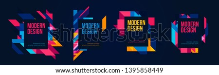 Vector frame Art graphics for hipsters . dynamic frame stylish geometric black background . element for design business cards, invitations, gift cards, flyers brochures.