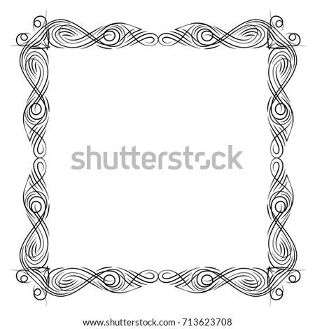 Vector frame. Calligraphic design elements