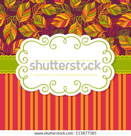 Vector frame for invitation or greeting card. Colorful backgrounds with leaves